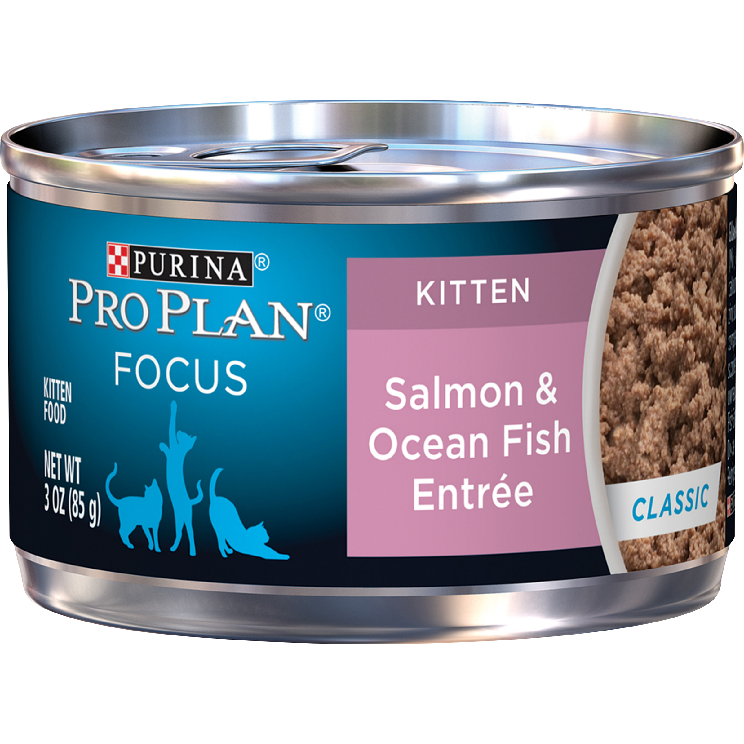 Purina Pro Plan Pate Wet Kitten Food; FOCUS Salmon & Ocean Fish Entree - 3 oz. Pull-Top Can