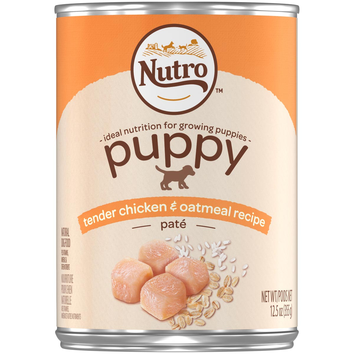 Nutro Puppy Tender Chicken & Oatmeal Recipe Pate Natural Dog Food 12.5 oz. Can