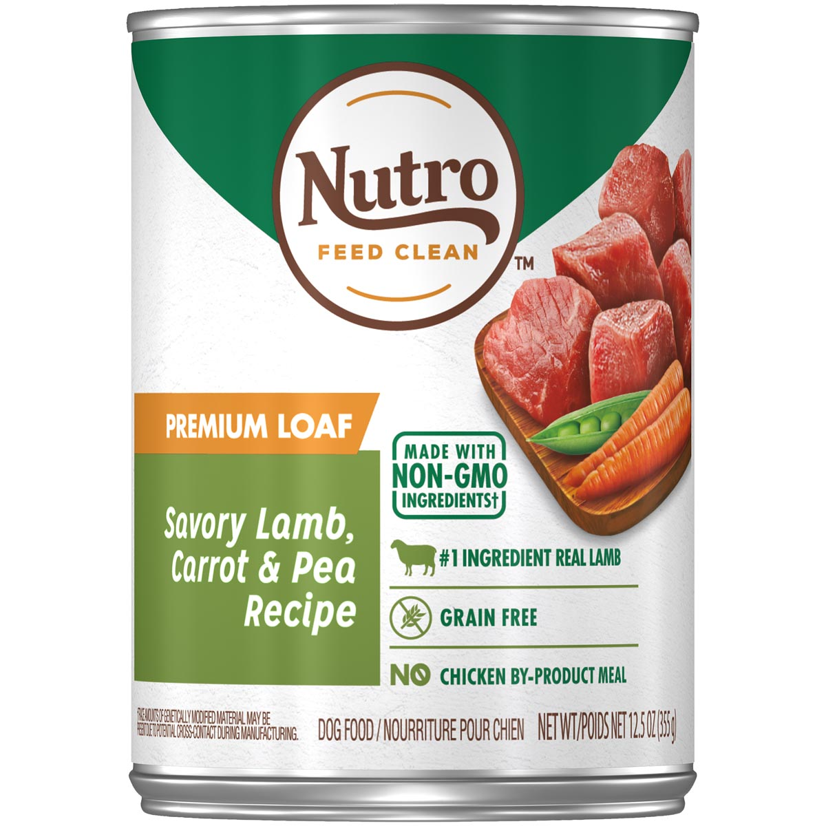 Nutro Feed Clean Premium Loaf Savory Lamb, Carrot & Pea Recipe Dog Food 12.5 oz. Can