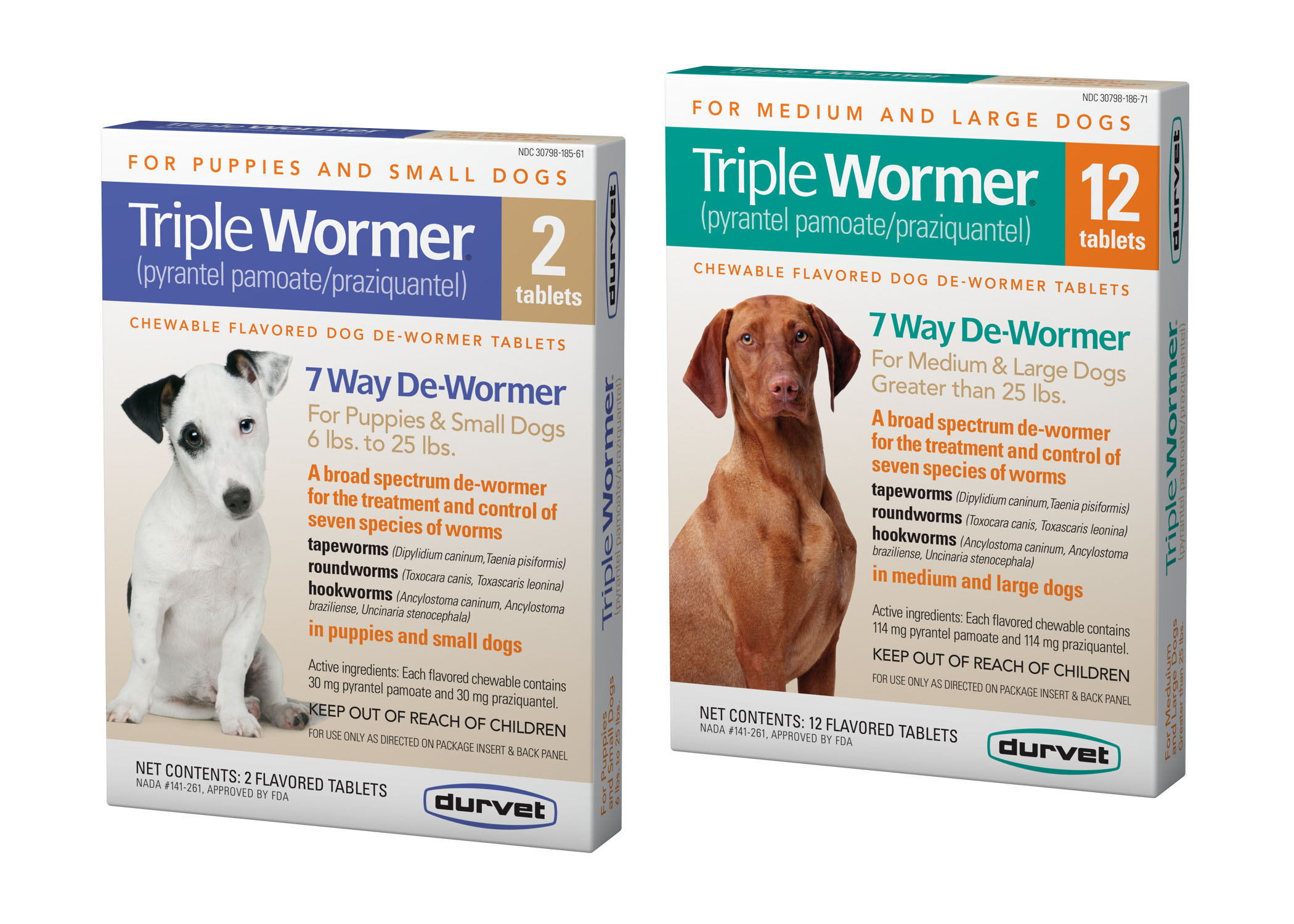 Triple Wormer for Medium-Large Dogs (25 lbs+), 2 count