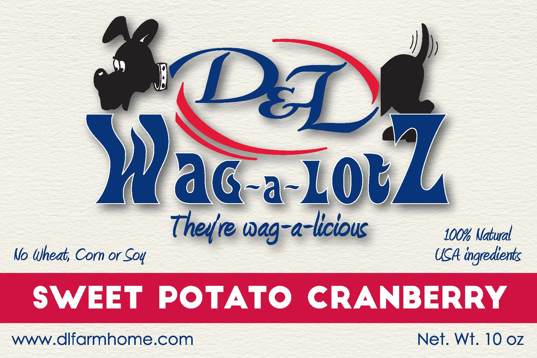 D&L Wag-a-LotZ Sweet Potato Cranberry Dog Treats 10.5 oz