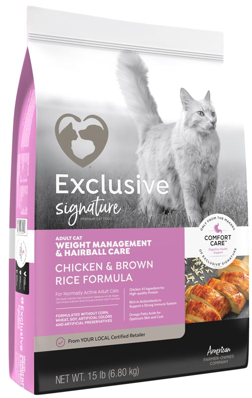 Exclusive Adult Weight Management & Hairball Care Chicken & Brown Rice Cat