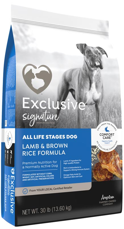 Exclusive Signature All Life Stages Dog Lamb & Brown Rice Dog Food, 30 lbs