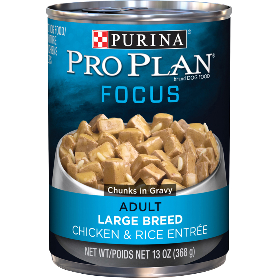 Purina Pro Plan Large Breed Gravy Wet Dog Food; FOCUS Chunks in Gravy Chicken & Rice Entree - 13 oz.