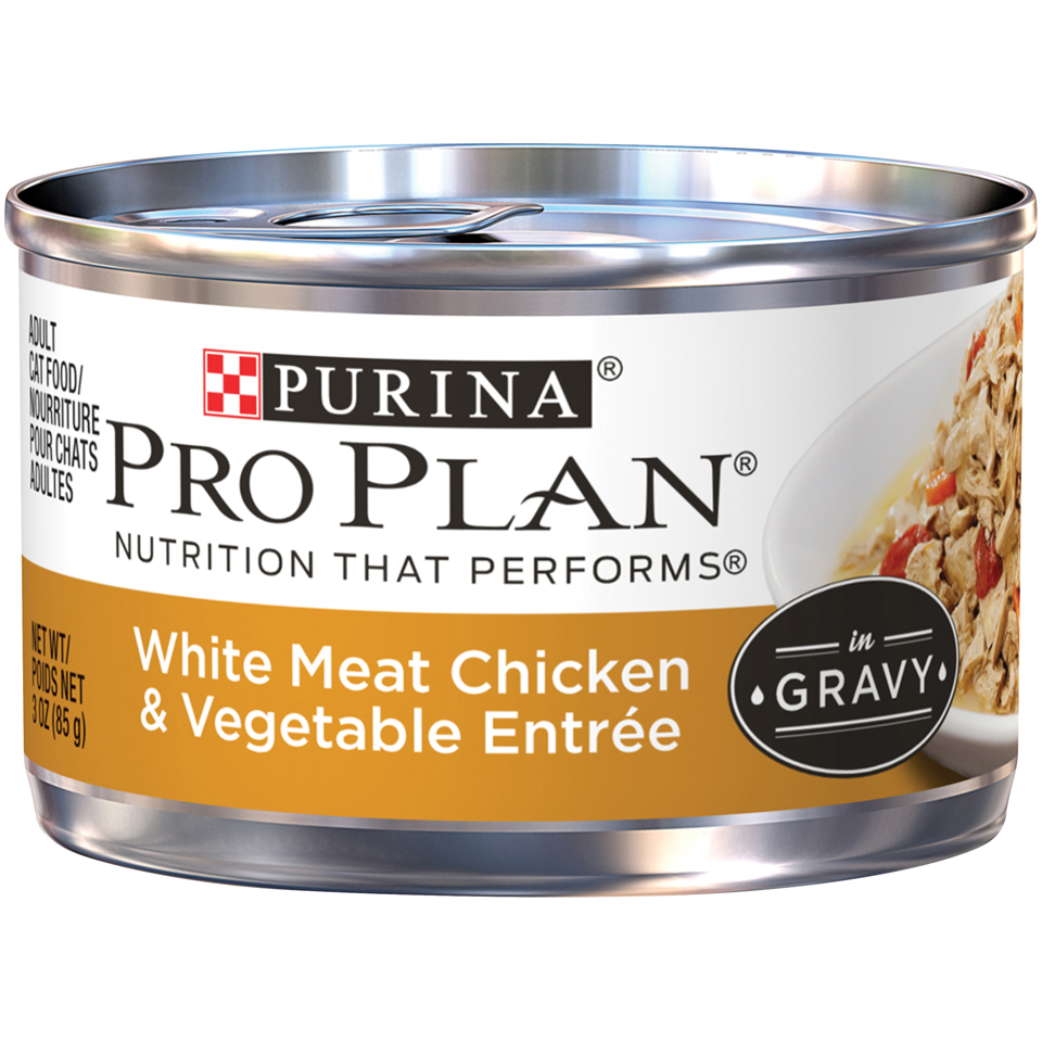 Purina Pro Plan White Meat Chicken & Vegetable Entree in Gravy Adult Wet Cat Food - 3 oz.