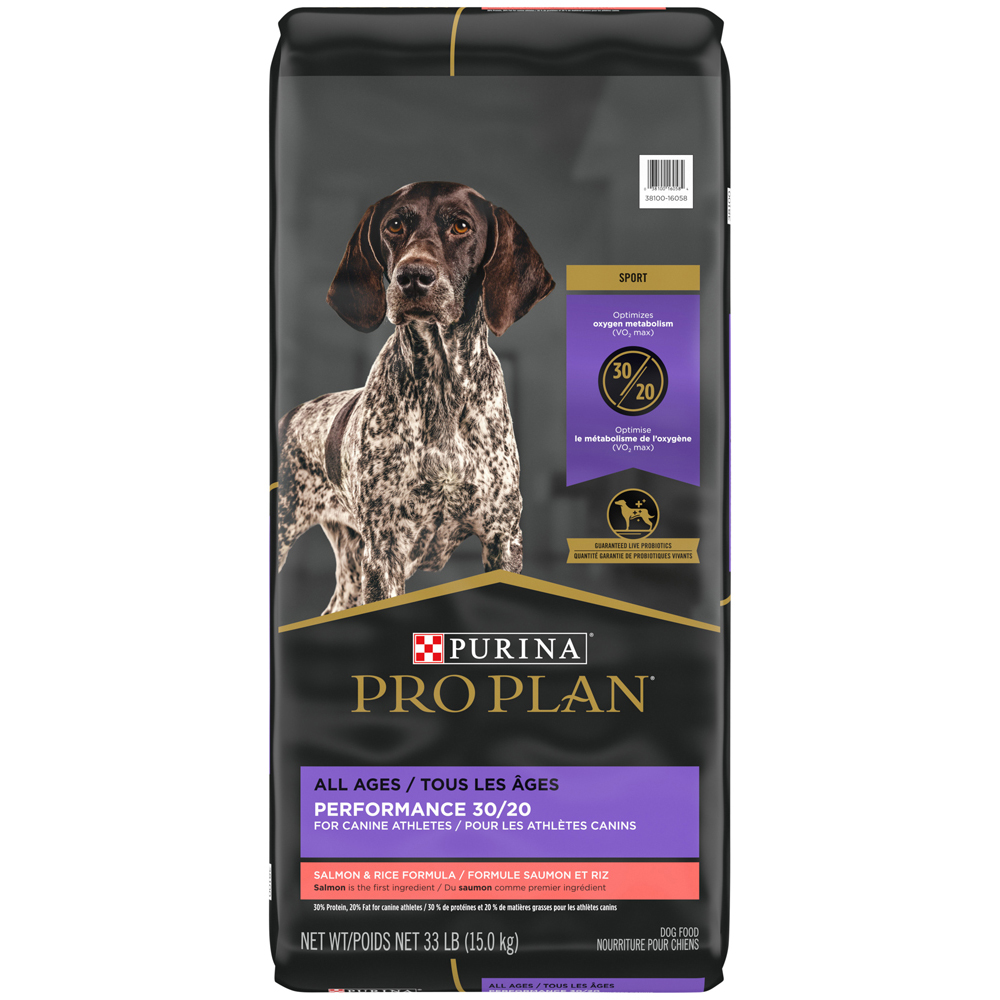 Purina Pro Plan High Protein Dry Dog Food; SPORT Performance 30/20 Salmon & Rice Formula - 33 lbs