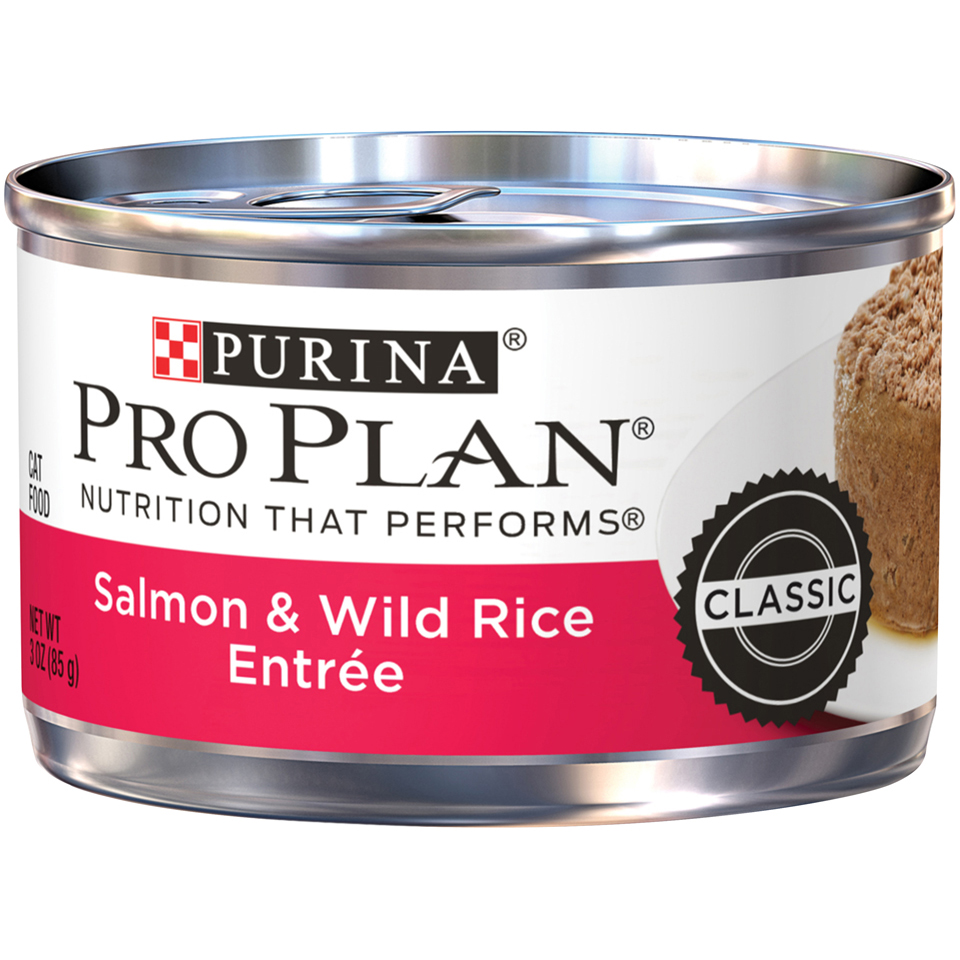 Purina Pro Plan Pate Wet Cat Food; Salmon & Wild Rice Entree - 3 oz. Pull-Top Can