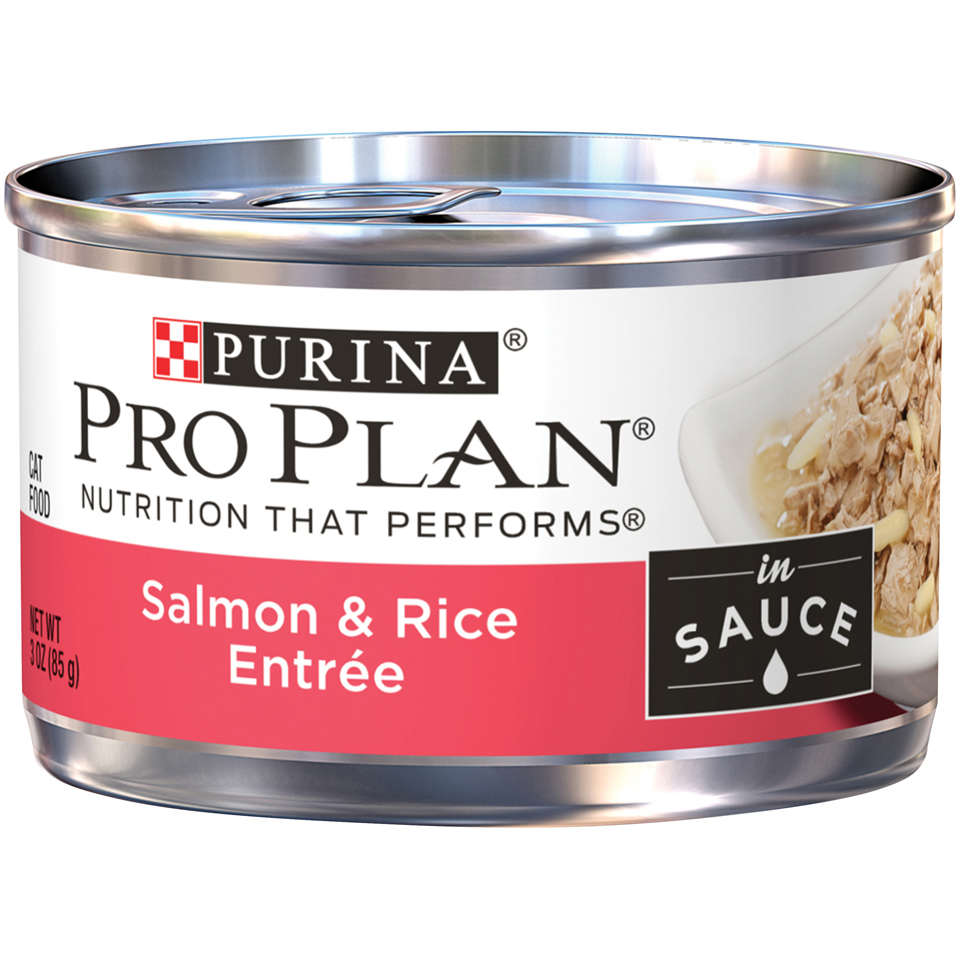 Purina Pro Plan Wet Cat Food; Salmon & Rice Entree in Sauce - 3 oz. Pull-Top Can