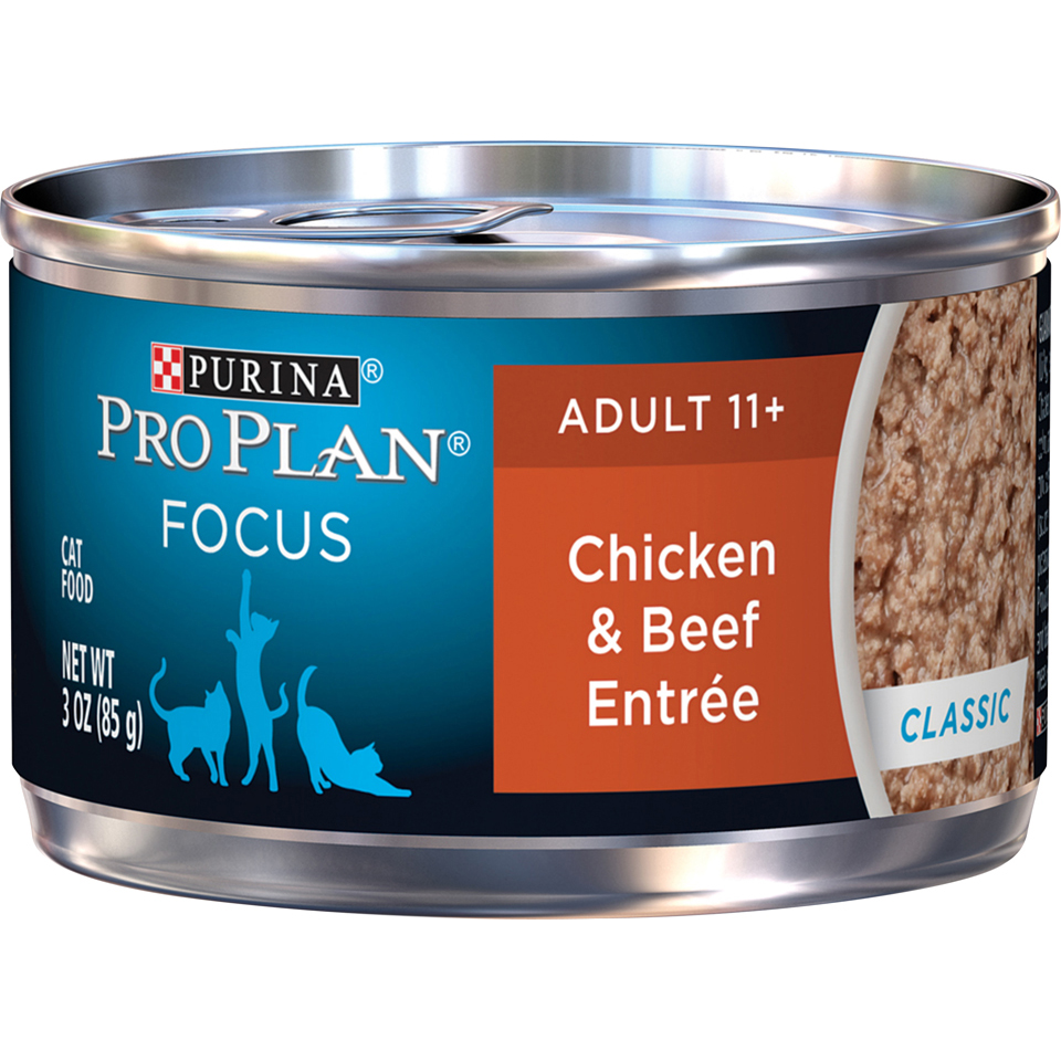 Purina Pro Plan Senior Pate Wet Cat Food; FOCUS Chicken & Beef Entree - 3 oz. Pull-Top Can