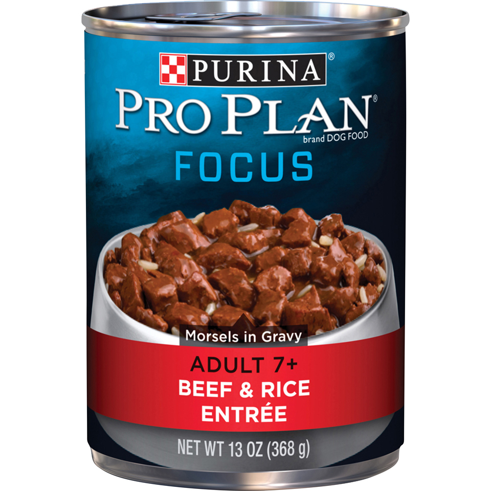Purina Pro Plan Senior Gravy Wet Dog Food; FOCUS Morsels in Gravy Beef & Rice Entree - 13 oz. Can