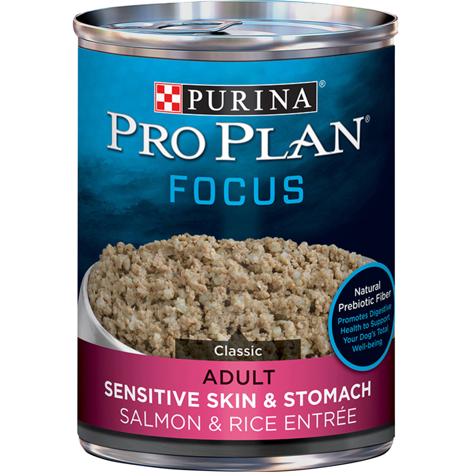 Purina Pro Plan Sensitive Skin & Stomach Pate Wet Dog Food; FOCUS Salmon & Rice - 13 oz