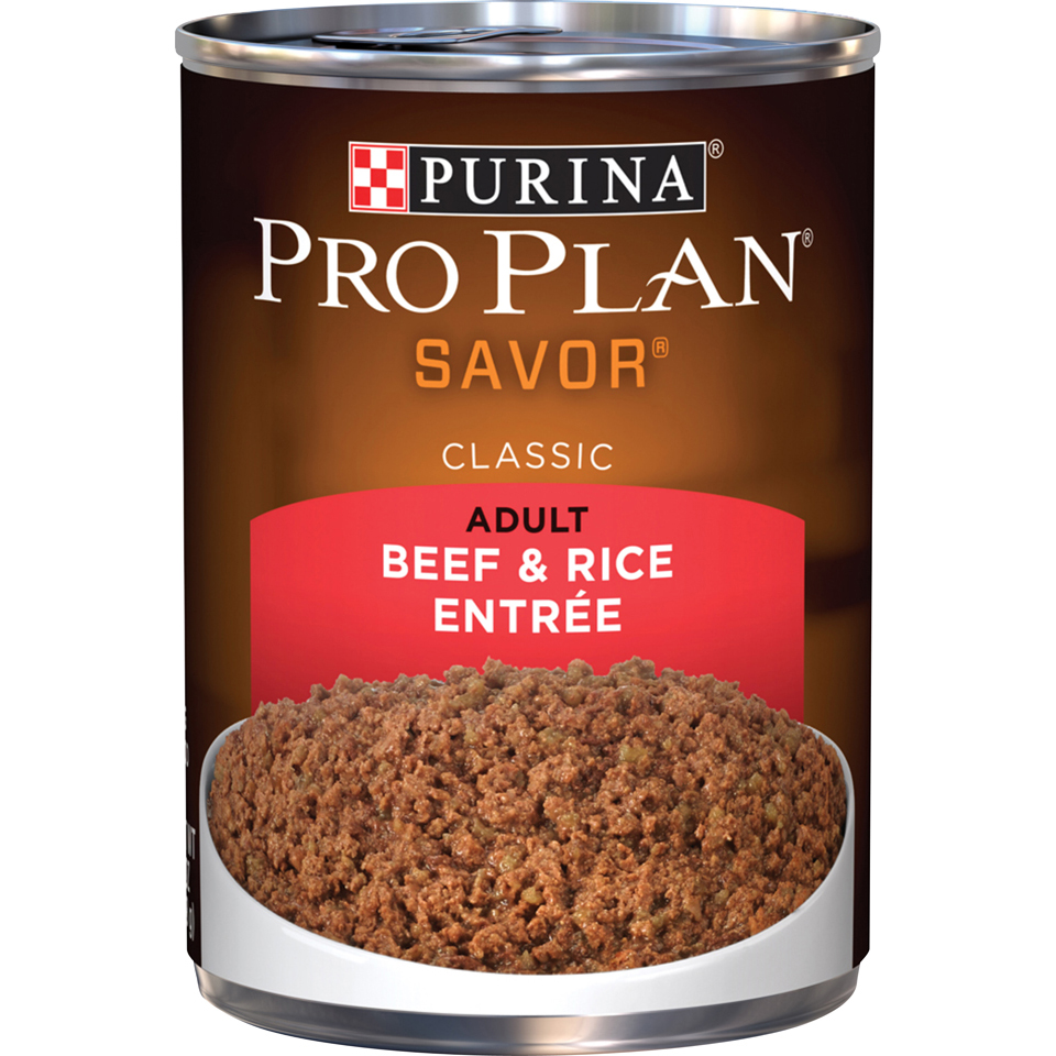Purina Pro Plan Pate Wet Dog Food; SAVOR Classic Beef & Rice Entree - 13 oz. Can