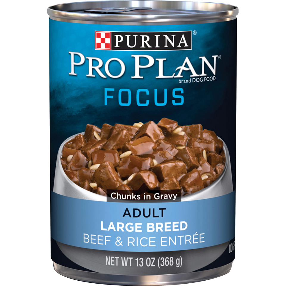 Purina Pro Plan Large Breed Gravy Wet Dog Food; FOCUS Beef & Rice Entree - 13 oz. Can